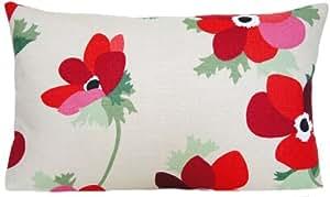 Motif floral Housse de coussin rouge Taie d'oreiller motif coquelicots Tissu Liberty of London Miranda Lin Rectangulaire