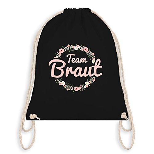 Shirtracer JGA Junggesellinnenabschied - Team Braut Blumenkranz rosa - Unisize - Schwarz - WM110 - Turnbeutel I Gym Bag