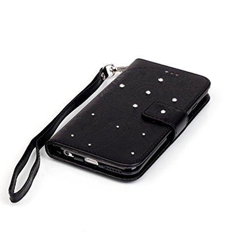 Coque iPhone 6S Plus,Coque iPhone 6 Plus,Cozy Hut [Séries Haut de gamme] Étui en cuir PU de première qualité avec Bling scintillant diamants Pretty Colorée Peinture Campanula Ancient couleur Motif Cla noir