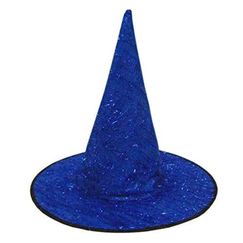 SuperSU Halloween Hut Damen Hut der Erwachsenen Frauen Kirchturm Hexenhut der Männer für Kostüm Zusatz Flaum Feste Kappe Ostern Witch Hats Blau, Pink, Rot, Schwarz, Silber, Lila, Gelb (Blau)