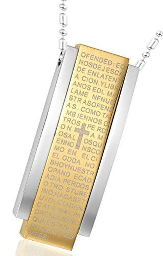 Acier Inoxydable Colliers, Femmes Pendentif Chaîne Rectangle Bible Lettre Croix Epinki Or