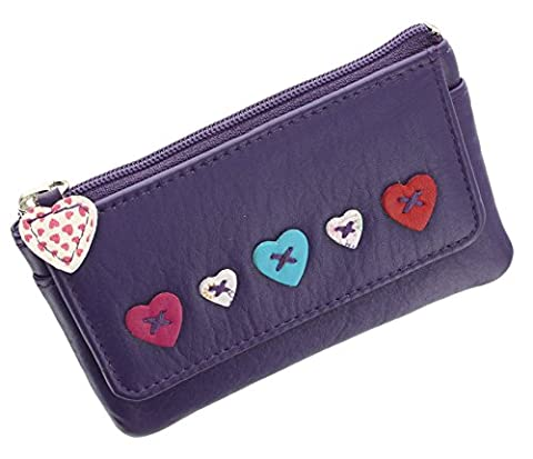 Mala Leather LUCY Collection Zip Top Coin Purse With Keyring And Pocket 468_30 Purple