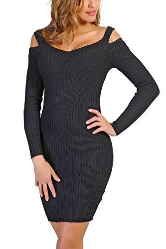 INFINIE PASSION - Maille - Robe moulante noire Noir