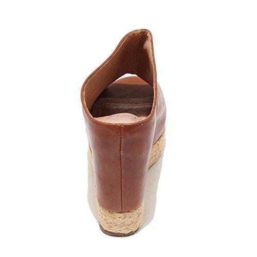 3368I sandali zeppe donna JEFFREY CAMPBELL virgo scarpe shoes women cuoio scuro