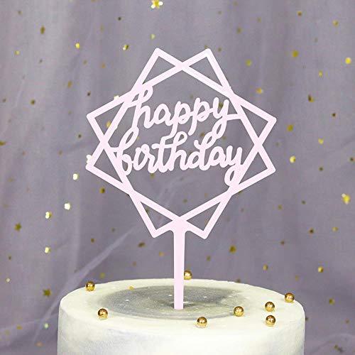 HPPL Kuchen einfügen Kunststoff Backen Dekoration Party Dessert Tisch verkleiden Sich Alles Gute zum Geburtstag Karte einfügen Kuchen dekorieren Plugin, Quadrat-Licht Pulver -