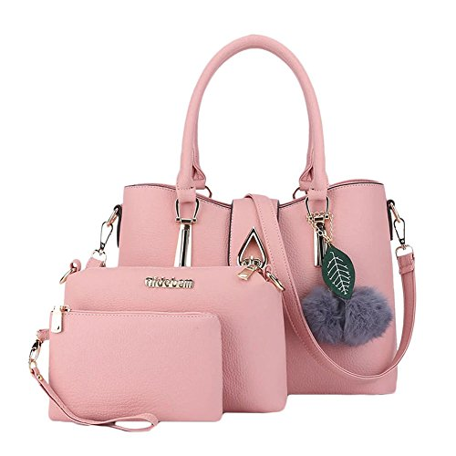 Donna Classic Handbag Set Shoulder Crossbody Bag with Pompom 3 set Rose Rose Pink