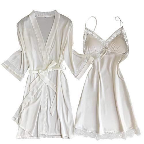 Colegio Unicornio quimono Kimono Saten Novia Blanco Blanca 12 16 Bata Invierno niña años de Mujer...