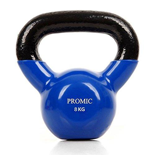 PROMIC KettleBell Sports Kugelhantel Rubber Rundgewicht, Handgewicht mit Neoprenoberflaeche, rutschfest, ideal Krafttraining, Gymnastik und Heimtraining (Blau), 8kg