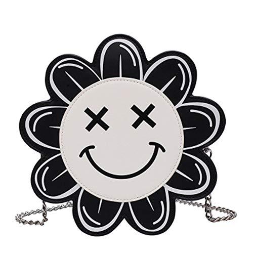 Frauen Umhängetasche Runde PU Leder wasserdichte Kette Reißverschluss Mini Wild Fashion Cute Smiley Portable Outdoor Sports Messenger Bag Tote,Black