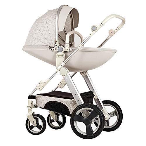 *Pushchair 3-in-1-Babyby-Kinderwagen für Hochleistungs-Eierschale zum Sitzen und Liegen zweiseitiger Kleinkind-Sessel mit Baby-Knottchen-Kombination Strollers 0-3 Jahre,White*