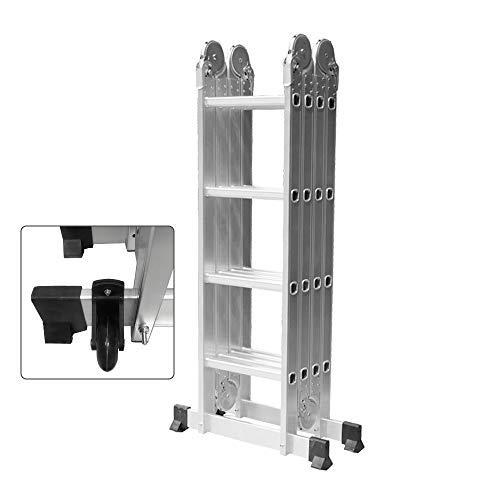 HENGMEI 4.7m 6 en 1 Escalera de Aluminio Multifuncional Plegable Escalera con Plataforma 4x4, Cargable...