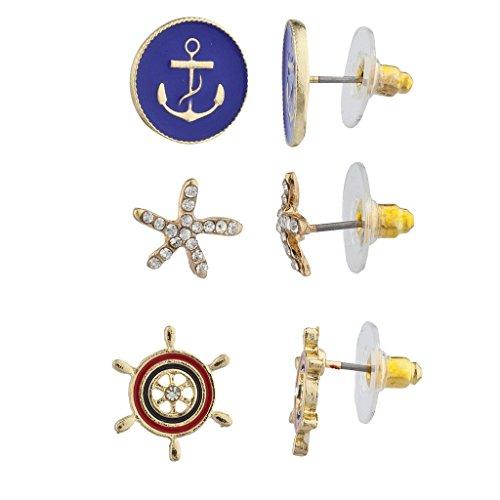 LUX Zubehör Gold Ton Maritim Anker Seestern Rad Multi Ohrring Set 3 (Disco Duck Kostüme)