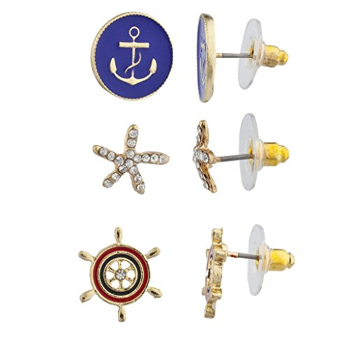 LUX Zubehör Gold Ton Maritim Anker Seestern Rad Multi Ohrring Set 3