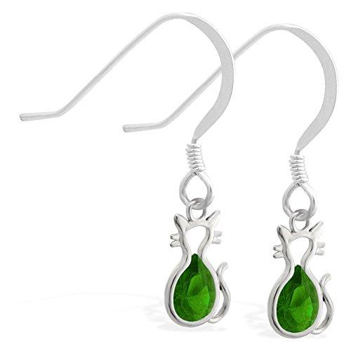 Sterling Silber Ohrringe mit kleinen Dangling Lab Erstellt Smaragd Jeweled Katze Charme (Silber-lab Charme)