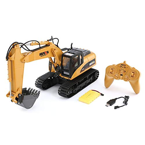 ARDUTE HUINA 1550 1/14 15CH 680 Degree Rotation Alloy Bucket RC Excavator Construction Vehicle Toy Gift with Cool Sound/Light Effect - Light Material Bucket