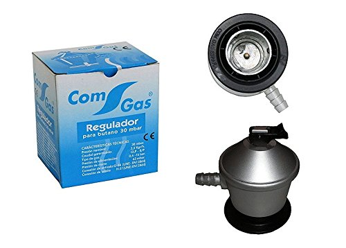 Com Gas 200072J - Regulador gas butano, 7 x 7 x 10 cm, color plata y negro