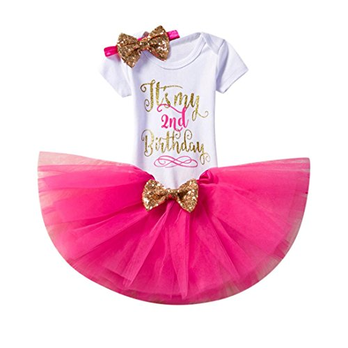 Trada Bekleidung, Neugeborene Kinder Baby Mädchen Blumen Kleid Kurzschluss Hülsen Oberseiten T-Shirt Tops Kurzarm Geburtstag Party Kleidung Strampler + Rock + Stirnband Set Outfits (2, Hot Pink)