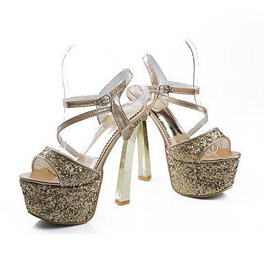 LvYuan Sandalen-Büro Kleid Party & Festivität-Kunststoff-Blockabsatz-Fersenriemen-Rot Silber Gold Silver
