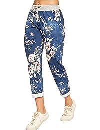 Womens Ladies Italian Floral Rose Printed Turn Up Trousers Summer Beach Trouser Pants Denim Jeans