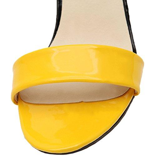 HooH Femmes Sandales Peep Toe Stiletto Multicolor Papillon Escarpins Jaune