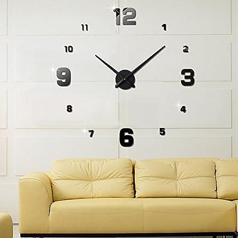 FAS1 Grande Horloge Murale Moderne DIY Big Montre Art Stickers 3D Miroir Effet Horloge Murale Amovible Home Office Décoration (Batterie Non Inclus) Noir