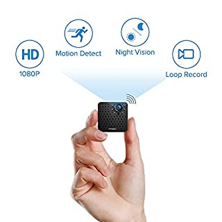 FREDI Hidden Camera 1080P HD Mini Spy Camera Small Wireless Camera Tiny Covert Cam Security Wifi Surveillance Camera Video Recorder with Night Vision/Motion Detection for iPhone/Android Phone/iPad