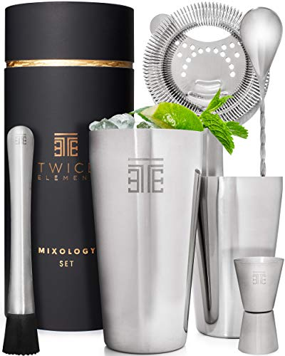Twice Element Boston Cocktail Shaker Set Professionelles Barkeeper Mixer Kit mit Zubehör | In eleganter Geschenkbox mit Bonus Rezeptbuch | Hochwertiger Edelstahl Rostfrei in Lebensmittelqualität -
