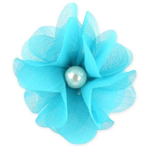 Flowing Pearl Flower Ring - Adjustable Band - Aqua Blue