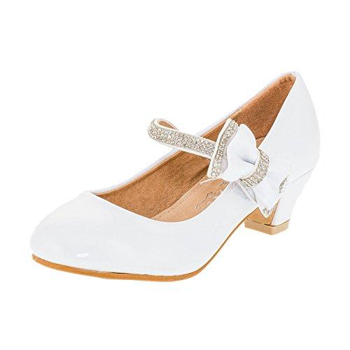 Jili Festliche Mädchen Pumps Leder Innensohle Lackoptik in Vielen Farben M328ws Weiß 36 (Weiße Kommunion Jungen Schuhe Für)