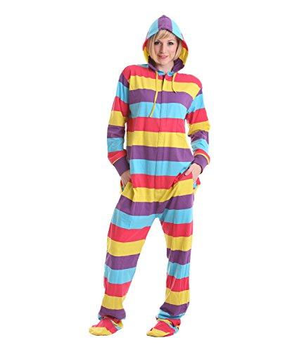 Funzee Onesie, Jumpsuit, einteiliger Overall, Pyjama, Strampler für Erwachsene mit Füssen, Ganzkörper Schlafanzug, Schlafoverall, körpergrößenabhängige Unisexgrößen in XS-XXL (Large) (Gestreifter Herren-pyjama)