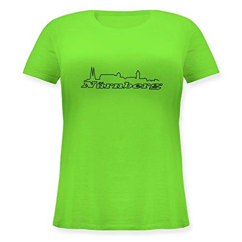 Skyline - Nürnberg Skyline - Lockeres Damen-Shirt in großen Größen mit Rundhalsausschnitt Hellgrün