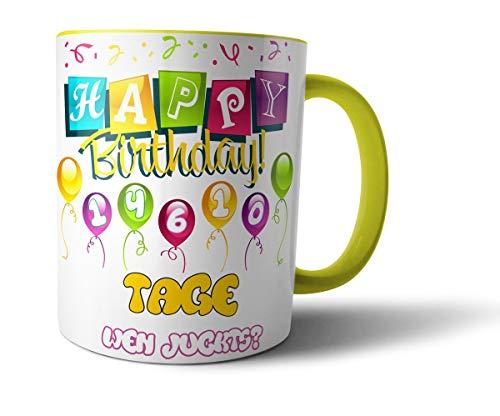 Geschenkedirekt Geburtstagstasse Kaffeebecher mit Alter in Tagen - Geburtstags-Geschenk Kaffeetasse Teetasse, Alter - Farbe:40 - Hellgelb