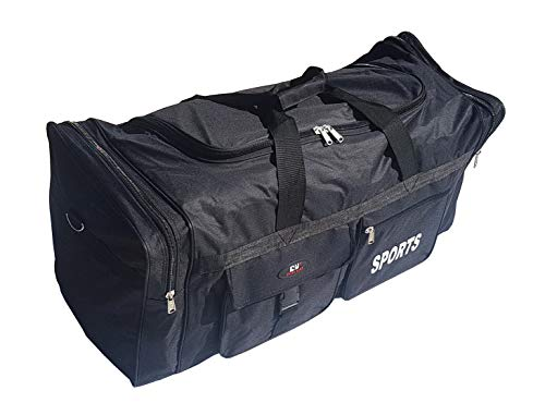 XL Grand sac de sport de 65 litres. Valise idéale pour les sports, la gym, les voyages, le camping et le stockage. Noir