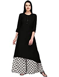 Pistaa Viscose Solid High Low Hem Kurta With Plus Size