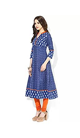 Anjushree Choice Women's Cotton Stitched Anarkali Kurti(Asc034P3Printtt-S_Blue_S - 36)