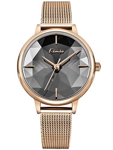 Alienwork Damen-Armbanduhr Quarz Rose-Gold mit Milanaise Mesh-Armband Edelstahl Silber Klassik elegant