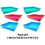 Little Monkey Rectangular Shape Multipurpose Organizer Plastic Tray, Big Size, Multicolour -Pack of 6