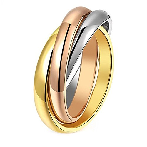 DABAIX Gold-Plated Stainless Steel Wedding Ring Three Colors, Pink, Interlaced Tone