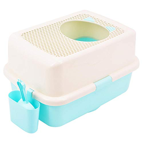 Toilette per gatti semichiusa Toilette per gatti completamente chiusa per ridurre la lettiera per gatti con gatti traspiranti, vasino, deodorante a carica dall'alto, puzzolente, antipioggia, azzurro