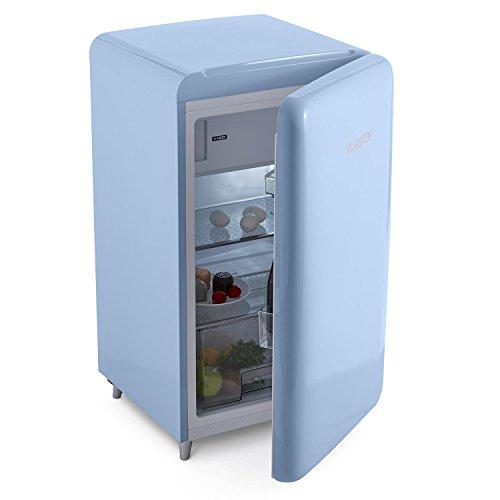 Klarstein PopArt Blue • Kühlschrank • Standkühlschrank • Retro Look der 50er • 108 Liter Volumen • 13 Liter Gefrierfach • Blitzkühl-Funktion • Gemüsefach • 2 x Regal • Flaschenfach • blau