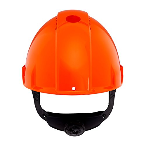 3M Peltor Schutzhelm G3000, G30NUO, mit 3M Uvicator Sensor, ABS, mit Schweißleder und Ratschensystem, belüftet, orange (Peltor Helm)