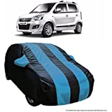 MotRoX Dual Tone Stripe Car Body Cover for Maruti Suzuki WagonR (Navy Blue with Royal Blue Stripe)