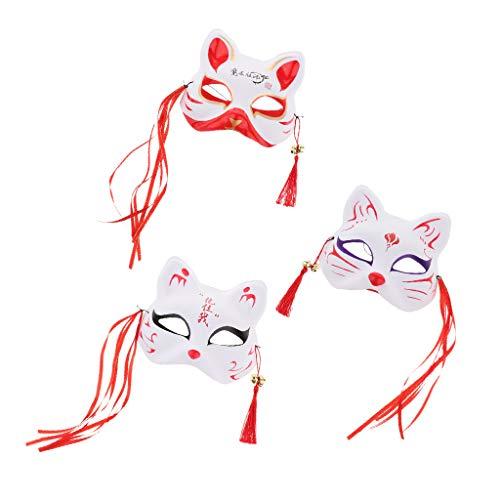 Show Japanische Game Kostüm - P Prettyia 3er Pack Japanischen Stil Cosplay Maske Fuchs Augenmaske mit Quasten obere Hälfte Gesicht bedeckt für Maskeraden Festival Kostüm Party Show