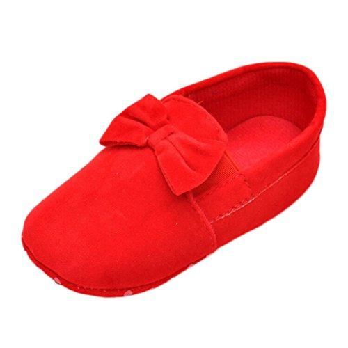 Saingace® Krabbelschuhe,0 ~ 18 Monate Baby Kinder Elastic Band Prewalker Bowknot Kleinkind weiche Sohle Schuhe Rot