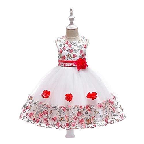 eid Mädchen Prinzessin Dress Lace Mesh Blumenmädchen Hochzeit Kostüm Klavier Performance Kleidung (Color : Red, Size : 4-5Years) ()