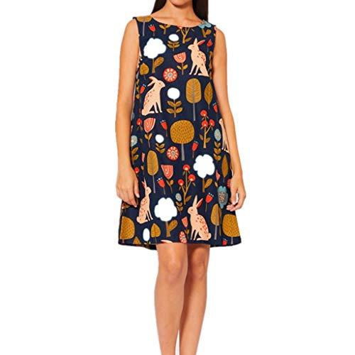 Frauen Sommer Kleid Jeesboy Mode Sleeveless Bedruckte Minikleid Casual Printing Swing Kleid Neues ärmelloses Kleid mit Blumenmuster aus Baumwolle und Leinen für europäische und amerikanische Frauen - Europäischen Designer-linie