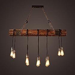 BJVB Tres vintage industrial madera lámpara dormitorio salón lámpara chandelier