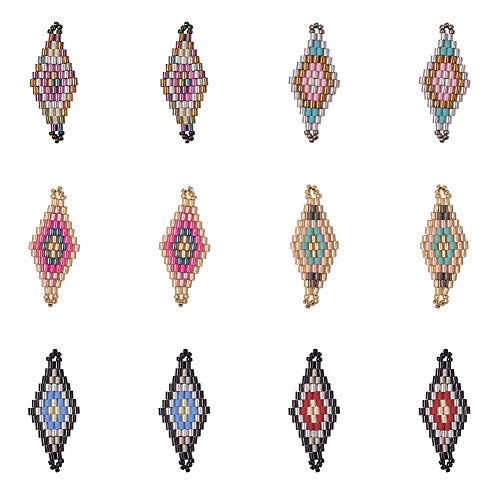 PH PandaHall 12pcs 6 Farben japanische handgemachte Raute Seed Beads Links Charms Anhänger baumeln Ohrringe für Ohrring Halskette Schmuck