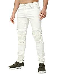 RNT23 Hombres destruido Jeans MERAN Delgado Fit Sección Zip Detail con Efectos