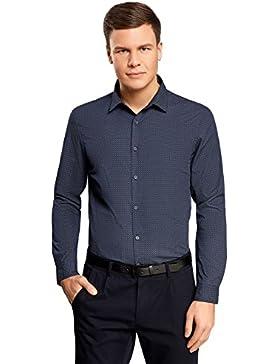 oodji Ultra Uomo Camicia Stampata con Toppe su Gomiti